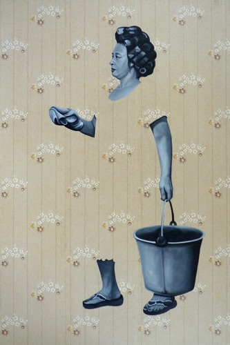 51. Meiting with Bucket, 90x60 cm